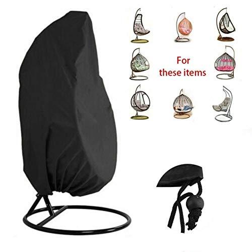 Funda for sillas de Columpio Silla de Exterior for Colgar en el Patio, Resistente al Agua Polvo, for jardín al Aire Libre Protectora Impermeable for Muebles (Color : Black, Size : 200 x 185cm)