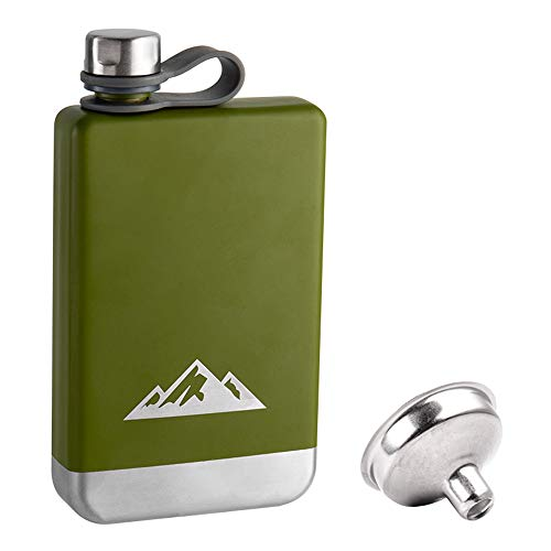 Flask for Men Hip Flask for Liquor with Funnel Whiskey Stainless Flask Green Mountain Flask 8 oz Stainless Steel Flask Nerdy Gifts for Him