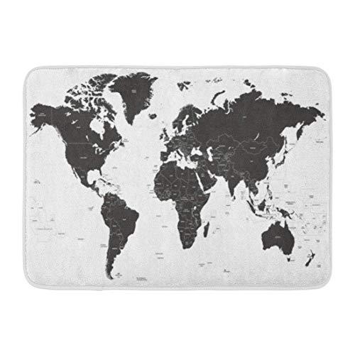 Kanaite Alfombrillas Alfombras de baño Alfombrilla para Exteriores/Interiores País Negro Mapa político Mundial Europa América del Sur Brasil Portugal Decoración de baño Alfombra Alfombra de baño