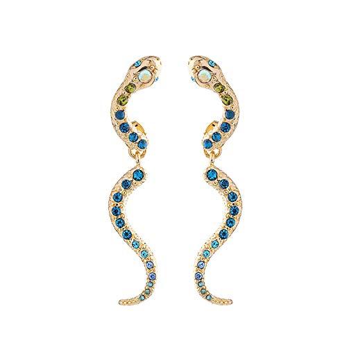 guodong Pendientes Pequeños con Forma De Serpiente Frescos Y De Diamantes Pendientes Femeninos con Personalidad Linda Chica Delgada Europa Y América