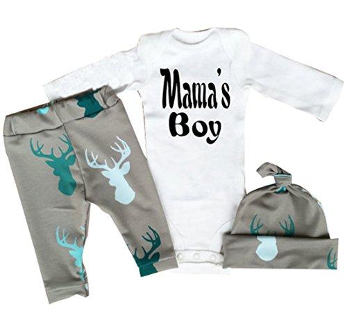 Neugeborenes Baby-Mädchen Junge Spielanzug tops Hirsch Hose Hut Outfit Set Kleidung (0-3 Monate, Grau)