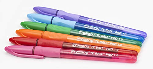 Promarx Tc Ball Pro Grip Fashion Ballpoint Pens, 1.0 mm, Assorted Colored Ink, 6-Count
