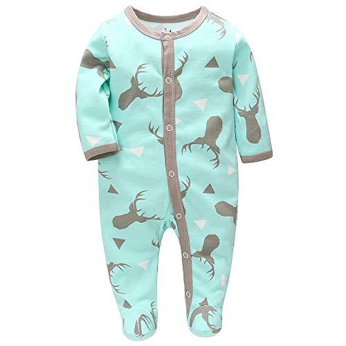 Baby Schlafstrampler Schlafanzug Schlafsack Gr. 56 62 68 Baumwolle mit Füßen mit knöpfen für Junge Mädchen Neugborene 0-7 Monate (Hirsch, numeric_68)