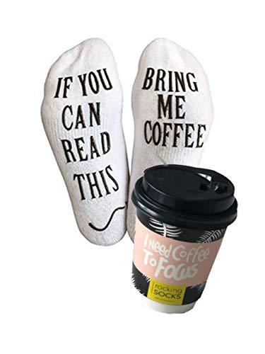 Sneaker Socken If You can read this bring me coffee Lustige Cupcake Socken Geschenk für Männer und für Kaffeeliebhaber, Geburtstagsgeschenk für Männer, Kaffee-Zubehör, Geschenke für Freund (41-46)