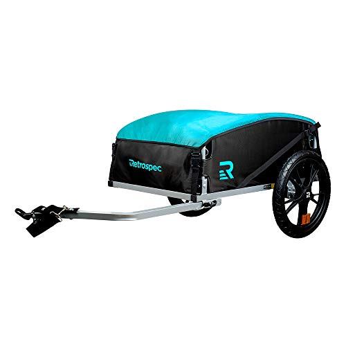 Retrospec Rover Hauler Cargo Bike Trailer, Tow Behind Extra Storage Bicycle Carrier, Foldable with 16 Inch Wheels; Teal