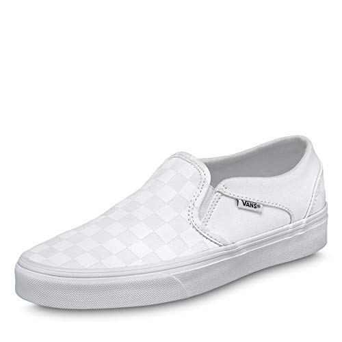 Vans Damen WM Asher Slip On Sneaker, Weiß ((Checkerboard) White/White W51), 39 EU