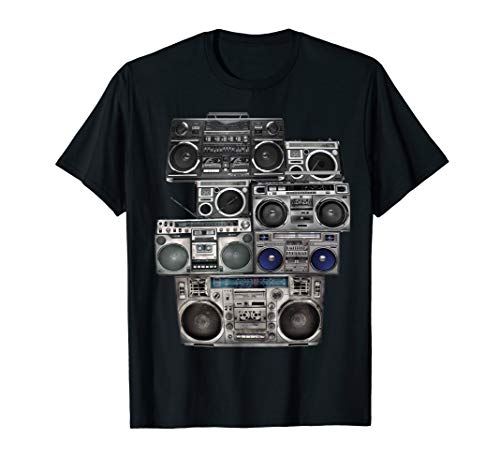 Retro 80s Boom Box Ghetto Blaster Radio Stack T-Shirt
