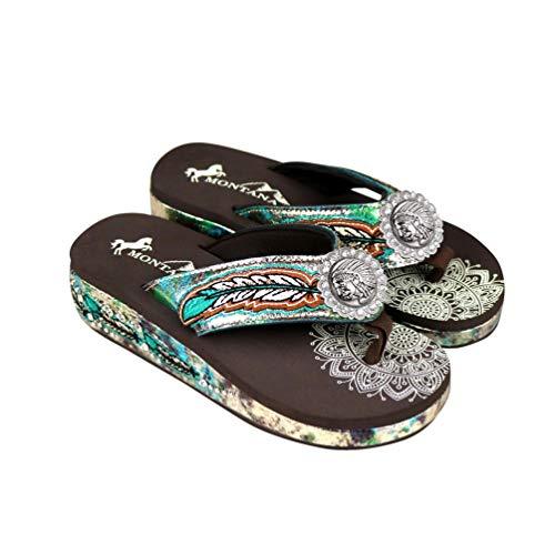 Montana West Wedge Flip Flops Patriotic Mandala Crackle Rhinestones For Women Western Shoes Bling Crystal Sandals Turquoise Size 6 SEF05-S184TQ-6