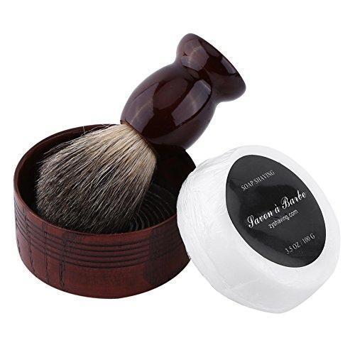 Beard Care Kit, 3Pcs Professional Men Wet Shaving Tool Set Faux Badger Hair Brush & Mug Bowl & Handmade Soap Barbering Salon Shave Tool