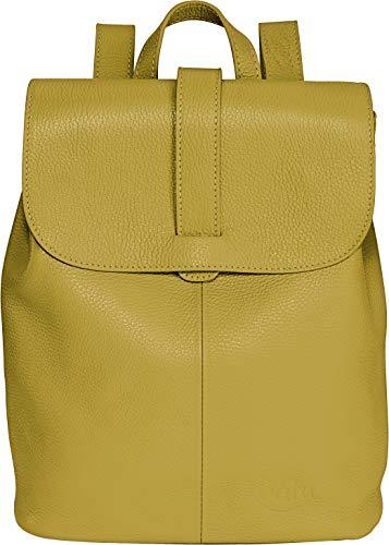 Rucksack Damen Leder BATU   Reise-Handgepäck   Laptop-Rucksack 15 Zoll   Schulrucksack Mädchen   Damen-Rucksack elegant   Senf-Gelb