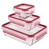 Emsa Clip & Close Set de 3 Conservadores Hermético de Cristal de borosilicato de 0,2 L 0,5 L y 1,3 L, higiénico, no retiene olores ni sabores 100% Libre de BPA, Transparente/Rojo, 17.5x17x24 cm