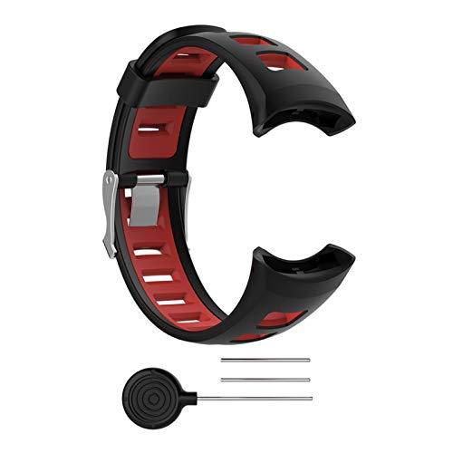 Cinturino da Uomo con Cinturino in Silicone Dual Color Dual Color Orologio da Uomo per Suunto Quest M1 M2 M4 M5 M Series Smart Watch (Color : Black)