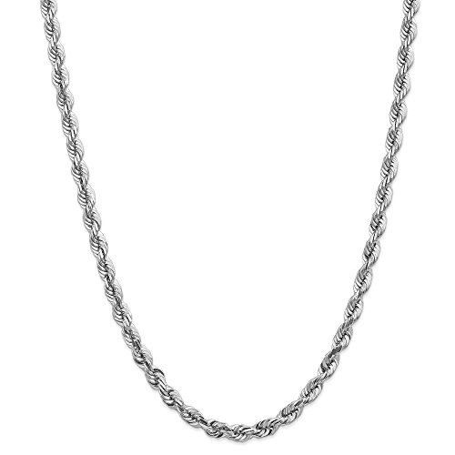 14ct White Gold 5.5mm Diamond Cut Rope Chain Necklace for Men Women