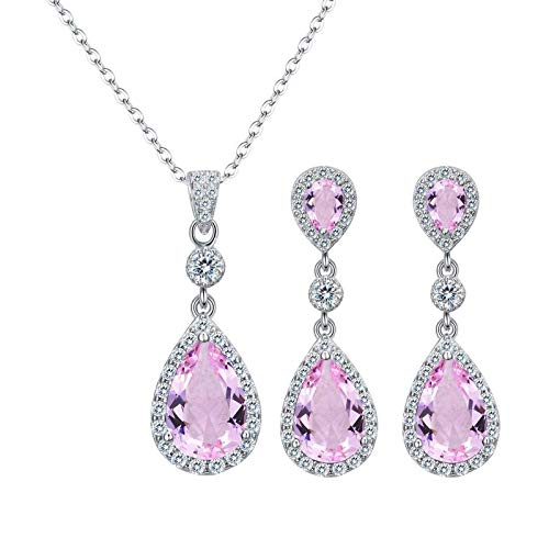 Collar de plata de ley 925 con circonita cúbica para novia, color rosa