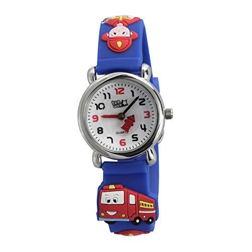 Tee-Wee Kinder Armbanduhr Feuerwehr blau Kautschuk Quarz Uhr Analog D2UW953B EIN schönes Geschenk zu Weihnachten, Geburtstag, Valentinstag für Kinder