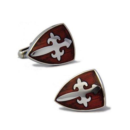 Bouton de manchette blason marron et croix medieval