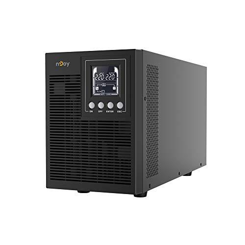 nJoy Echo 2000VA PRO Gruppo di Continuità On-Line Doppia Conversione UPS, 1600 Watt, Onda Sinusoidale Pura, Display LCD, 4 Uscite Schuko, RS232, HID USB, EPO, SNMP, 4 Batterie, (HxWxD 225x151x390 mm)