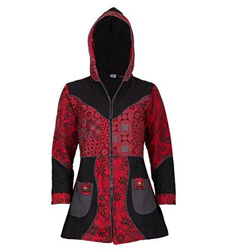 KUNST UND MAGIE Damenmantel mit Kapuze Blumenmuster Jacke Baumwolle, Größe Damen:40, Farbe:Schwarz/Rot