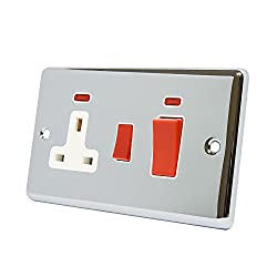 45 Amp Cooker Switch with 13 Amp Switched Plug Socket with Neon Indicators Polished Chrome Silver Mirror Effect Metal Plate Classical Style Raised Profile White Insert Double 2-Gang Plate