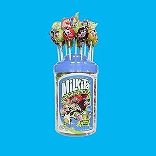 Milkita Assorted Jar of Creamy Shake Lollipops with Calcium and Real Milk (Assorted Banana, Strawberry, Chocolate, Vanilla, & Honeydew Flavors), 50 Pieces