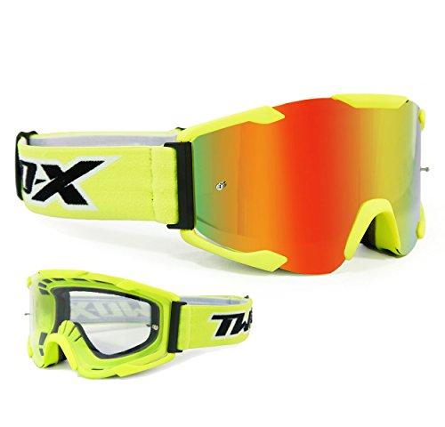 TWO-X Bomb Crossbrille Neon gelb Glas verspiegelt Iridium MX Brille Motocross Enduro Spiegelglas Motorradbrille Anti Scratch MX Schutzbrille