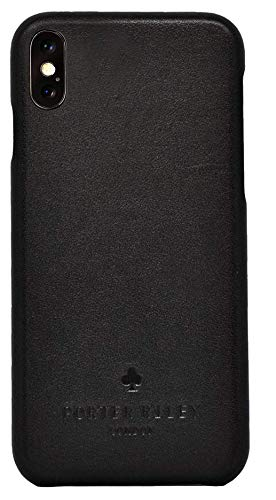 Porter Riley - Lederhülle für iPhone XS Max. Premium Ultra Dünn Echtleder Cover/Ledertasche/Backcover kompatibel mit iPhone XS Max (Schwarz)