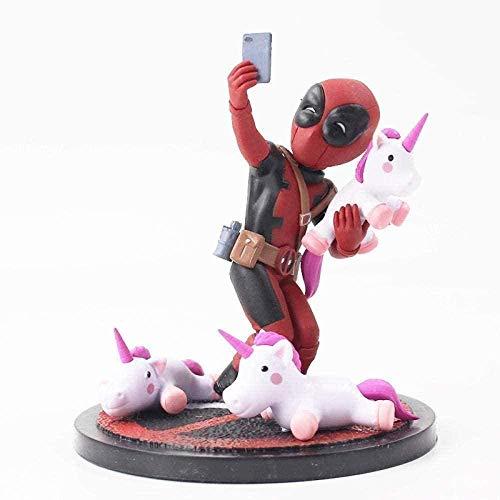 10cm Deadpool con Unicornio Selfie PVC Figura Juguetes Q Versión Unicornio Selfie Decoración del Coche del hogar Muñecas Decoraciones Modelo Marioneta Regalo