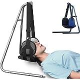首と頭の痛みを軽減するネックストレッチャー(ブルー)用ネック救済ハンモック、ハンモックスタンド付きポータブル頚椎牽引装置、