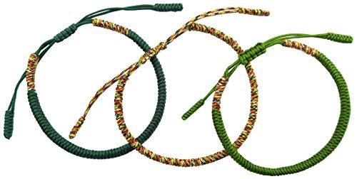LUCKY BUDDHIST Tibetan Pulseras de la Suerte + Colgante/Collar! Amuletos para Mujeres Hombre Adolescente, tamaño Ajustable. Muñequeras de Amistad, Hecho a Mano de Cuerda (Verde, Verde Oscuro, Oro)