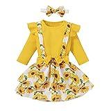 NCONCO Conjunto de 3 piezas de ropa de bebé para niña con volantes y falda floral + diadema, amarillo, 3-4 Años