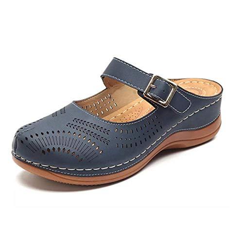 Nuovo Stile Sandali Testa Tonda Pendenza Tinta Unita Linea di Macchine Sandali Europei e Americani di Grandi Dimensioni Trentaquattro Navyblue