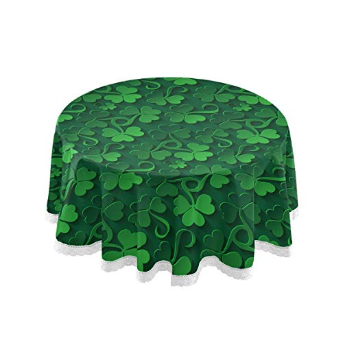 ALAZA Lace Tablecloth, St Patrick Day Shamrock Washable Dust-Proof Polyester Table Cover for Kitchen Dinning Tabletop Decoration (Round, 60 Inch)