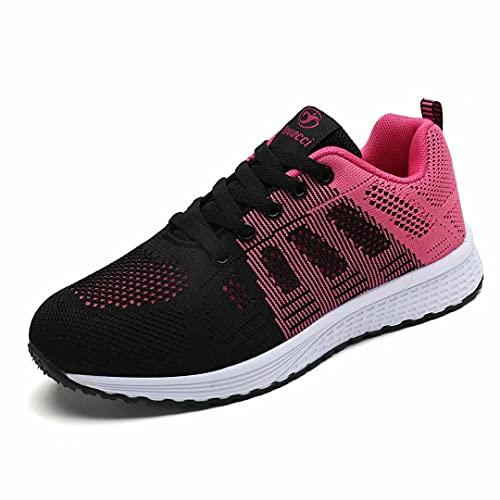 Hoylson Zapatillas de Deportivos para Mujer Running Zapatos Asfalto Ligeras Calzado Aire Libre Sneakers(Rojo, EU 37)