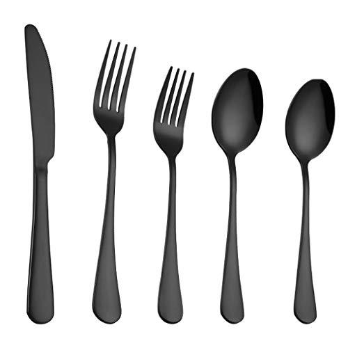 MIAOJI Cuchara de Tenedor, Juego de Cubiertos Cuchillo de Ac