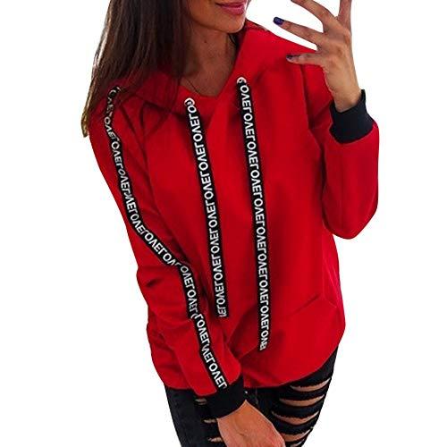 GOKOMO Frauen Plus Größen-langes Hülsen-festes Sweatshirt-mit Kapuze Pullover übersteigt Hemd(Rot,XXXXX-Large)