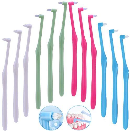 12 x manuelle Zahnzwischenraum Zahnbürste für kieferorthopädische Zahnspangen und Brücken, weiche, schlanke Zahnbürste, BPA-freie Zahnbürsten für schwer erreichbare Bereiche, Tiefenreinigung