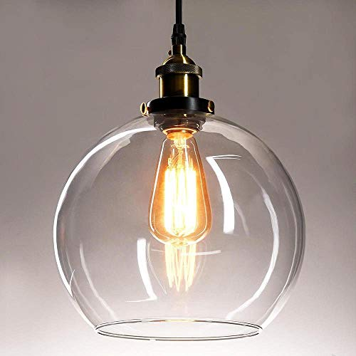 Naiyn E27 Vintage Globe Glass Lámpara Colgante Lámpara Colgante Industrial Lámpara de Cristal con Pantalla con Cadena Ajustable para Cocina Isla Bar Sala de Estar Dormitorio Suspensión Accesorio de