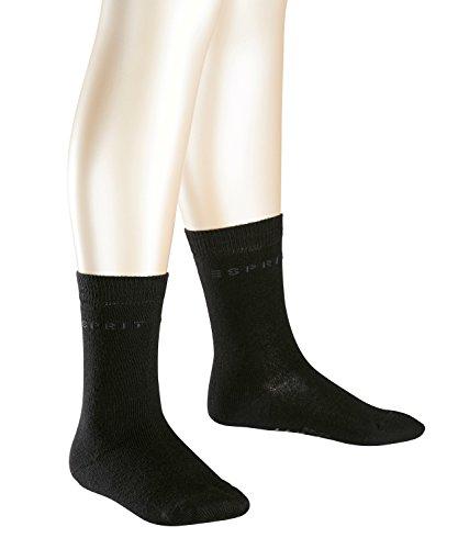 ESPRIT Unisex Kinder Socken Foot Logo 2-Pack, Baumwolle, 2er Pack, Schwarz (Black 3000), 39-42 (13-16 Jahre)