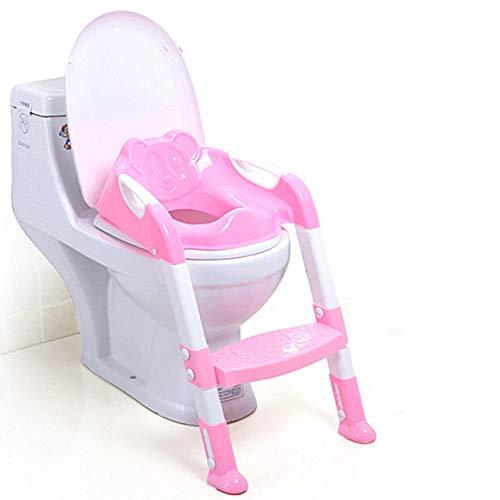 2 colores Asiento para ir al baño para bebés Asiento para ir al baño para niños Asiento para inodoro para bebés Escalera ajustable Asiento plegable para entrenamiento para inodoro para bebés-Rosa