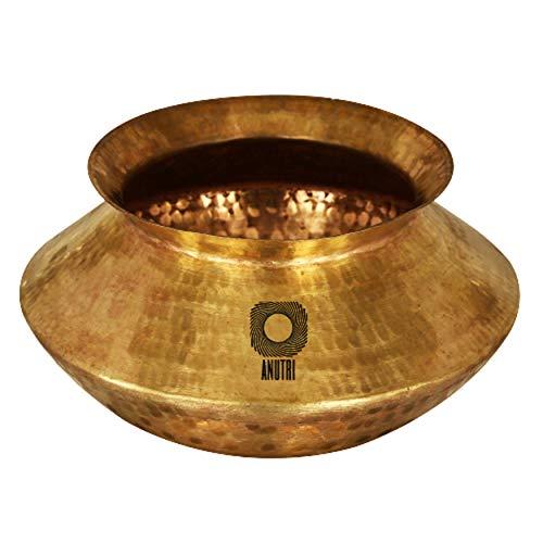 ANUTRI Pure Brass Handmade Handi 1500 Ml Cooking Utensils Biryani Storage Milk Indian Serveware