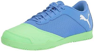 PUMA unisex adult Sala Soccer Shoe, Blue Glimmer-elektro Green-puma White, 8 Women 6.5 Men US