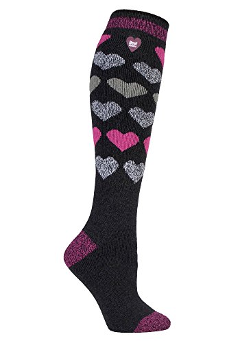 HEAT HOLDERS Lite - Damen 1.6 TOG Winter Warme Gestreift Extra Lang Leicht Dünn Kniestrümpfe Thermo Socken (37-42 EU, Sutton)