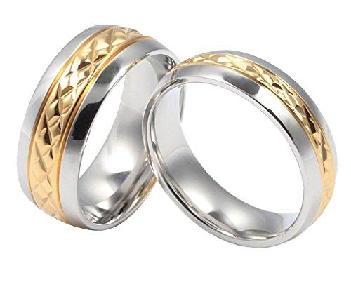 ANAZOZ Personalizar Acero Inoxidable Anillos Hombre Anillo de Bodas Oro Multi Diamante Tamaño 17 (18,16 mm)