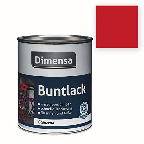 Acryl-Buntlack rot glänzend | Buntlack für innen & außen Feuerrot RAL 3000 | 0,75 Liter