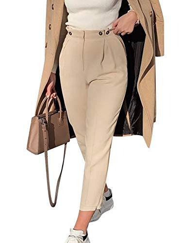 BerryGo - Pantaloni aderenti da donna a vita alta, elasticizzati, casual - arancione - 44-46