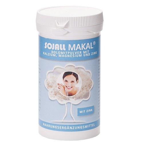 Sojall Makal plus Zink 125 g | Feines Pulver mit Calcium, Magnesium und Zink für Knochen und Zähne | Perfekt zum Einrühren in Wasser, Saft, Joghurt oder Quark