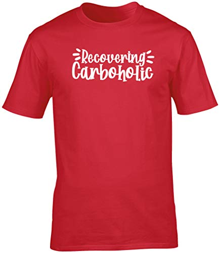 Hippowarehouse Recovering Carboholic Unisex Short Sleeve t-Shirt (Specific Size Guide in Description) Red