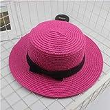 Sombreros de Verano para Mujer Sombrero de Sol Playa Señoras Moda Flat BowknotSeñora Casual Sombreros de Sol para Mujer Sombrero de Paja-Rose Red-Child Size 51-54cm