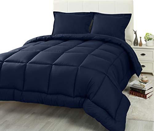 Utopia Bedding 3 Piece Comforter Set (Queen/Full, Navy) with 2 Pillow Shams - Luxurious Brushed Microfiber - Down Alternative Comforter - Soft and Comfortable - Machine Washable