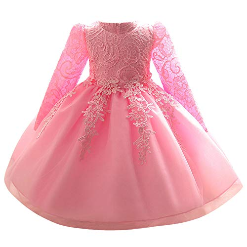 Riou Weihnachtskleid Mädchen Prinzessin Spitzenkleid Lang Weihnachten Kinder Baby Leistung Formal Tutu Mini Ballkleider Abendkleid Elegant für Hochzeit Party Geburtstag Outfits Kleidung (110, Rosa B)